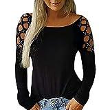SHOBDW Mujeres Camisetas de Manga Larga Tallas Grandes Cuello en V sólido Camisa de Manga Larga Moda Casual Primavera Otoño Blusa Blusas Sueltas Diseño Cruzado Delantero Camiseta(Negro,M)