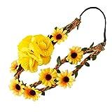 ODETOJOY Corona de Girasol, Diadema de Girasol Grande, halo de Girasol, Corona de Flores Caídas