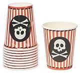 Le Mantel de la Table 73481H - Lote de 10 Vasos de cartón (25 cl), diseño de Bandera de Pirata