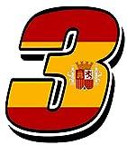 Biomar Labs® Número 3 Bandera Nacional España Spain Calavera Vinilo Adhesivo Pegatina Coche Auto Motocross Moto Sport Start Racing Tuning N 283Z