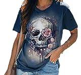 Camiseta con Estampado de Calavera de Verano para Mujer Camiseta Holgada de Manga Corta Cuello Redondo Colorido Tops Divertidos Camisetas Chicas Adolescentes
