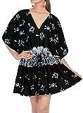 LA LEELA Traje de baño de playa con diseño de calavera para mujer con cordón A - negro - 3X/4X