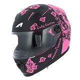 Astone Helmets - Casque intégral GT2 Graphic Lady Custom - Casque de moto femme - Casque idéal en milieu urbain - Casque de moto intégral en polycarbonate - Black/Pink S