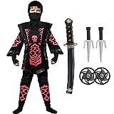 Tacobear Disfraz de Ninja para Niño Disfraz de Calavera Ninja Disfraz de Cosplay Disfraz Infantil de Halloween Negro y Rojo 4-12 años (L (10-12 años), rojo)