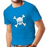 lepni.me Camisetas Hombre Calavera y Tibias Cruzadas, señal de Advertencia - No Tocar (XX-Large Azul Blanco)