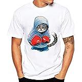 Camisetas Hombre,SHOBDW Camisetas De Impresión De Verano Camisa De Manga Corta Camiseta Blanca Blusa Diaria Cuello Redondo Suelto Tallas Grandes Tops para Hombres(Azul,XL)