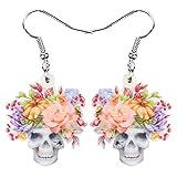 XCLWL Acrílico Halloween Flor Calavera Pendientes Estético Esqueleto Colgante Gota Joyería para Mujeres Niñas Kid Fashion Decoración