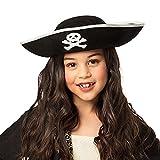 Boland 81909 - Sombrero infantil de pirata, tres puntas, talla única, diseño de pirata, color negro, calavera, carnaval, fiesta temática, Halloween, disfraz, teatro