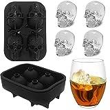 FLZONE 4 Molde de la bandeja del cubo de hielo del cráneo 3D, fabricador de cubitos de hielo de silicona flexible de grado alimenticio para Cocktails, Whisky, Licor y otras Bebidas(Con embudo)