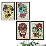 Nacnic Imprime Calaveras con definiciones de enciclopedia en español - Libertad, imaginación, emociones, eternidad - Juego de 4