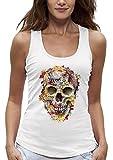PIXEL EVOLUTION Camiseta sin Mangas CRÁNEO Flores Mujer - tamaño M - Blanco