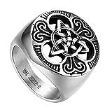 Flongo Anillo de Compromiso para Hombre, Anillo de Sello Grande Celta celtico Anillo de Nudo irlandés, Amuleto Anillo de Acero Inoxidable, Talla 24