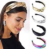Sethexy Anudado Venda Lustroso Cuero Aros de pelo 4 piezas Elástico Banda para mujeres y niñas