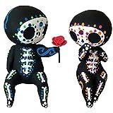 WINBST Adornos decoración, muñeca de madera, calavera de azúcar mexicana Calavera adornos pareja muñeca regalo