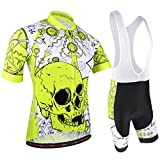 BXIO - Maillot de Ciclismo para Hombre, con Tirantes y Camiseta con Media Manga, Doble Licra y Almohadilla de Gel, Color Amarillo Fluorescente, Equipo, Hombre, Color Patrón de Calavera