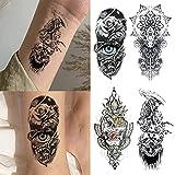 Manga Tatuajes Brazo 3D Tatuajes Temporales Adultos En la piel Impermeable Tamaño Completo Patrones Realistas Seguros y no Tóxicos Calcamonias Tatuajes Adecuado Para Fiesta de Carnava,ojos y Calaveras