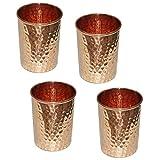 Vaso martillado de cobre puro para la curación de accesorios de vajilla de productos ayurvédicos, juego de 4, altura 9,5 cm capacidad 350 ml