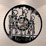 zgfeng Reloj de Pared de Esqueleto de Cuerda de Calavera Tweeter de Calavera de Halloween Personalizado Reloj de Tiempo de grabación de Vinilo Retro-con LED