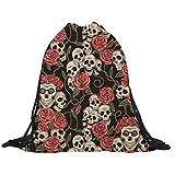 Bolso, mochila, bolsa de deporte, diseño de calaveras y rosas