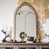 HOBIRD 61cm x 112cm Iglesia Grande Ventana Espejo de Pared Marrón Antiguo Arco Decoración de hogar y jardín Espejo Gótico Vintage Vestir Espejo de Maquillaje Efecto de Piedra de Metal