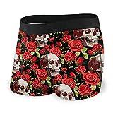 Calzoncillos tipo bóxer para hombre, cómodos, suaves, bolsa de maquillaje, diseño de calavera, color rojo