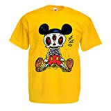 lepni.me Camisetas Hombre Esqueleto de un ratón (Small Amarillo Multicolor)