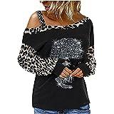 Camiseta con Hombros Descubiertos y Manga Larga con Estampado de Calavera de Leopardo para Mujer, Camiseta con Diamantes de imitación Brillante, Blusa