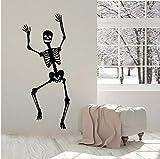 Calcomanía de vinilo de esqueleto para pared, divertido esqueleto para ventana, pegatina de baile con huesos de calavera, pegatinas de Halloween para decoración del dormitorio del hogar, 57 * 24 cm