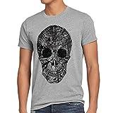 style3 Nature Skull Camiseta para Hombre T-Shirt Calavera, Talla:L;Color:Gris Brezo