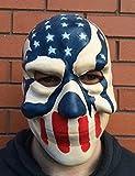The Rubber Plantation TM 619219304184 - Máscara de látex con diseño de calavera de la bandera de Estados Unidos para Halloween, disfraz de 3 estrellas y rayas