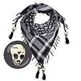 LOVARZI Pañuelo de algodón con calaveras y abalorios – Diseño único – Bufanda para hombre y mujer