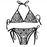 Bikini para Mujer Conjunto de Calavera de Azúcar Traje de Baño de Dos Piezas de Verano en Blanco y Negro con Trajes de Baño de Cabestro con Vendaje