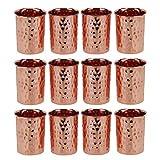 Zap Impex Vasos martillados de cobre, cristal, cobre puro, retención ayurvédica, juego de 12 unidades