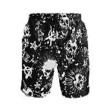 Wamika Bañador de playa para hombre, diseño abstracto de calavera hawaiana, bañador para playa
