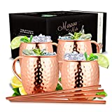 Vezato Moscow Mule Mugs [500ml] - Taza de cobre martillado con sorbete - Juego de cóctel de cobre hecho a mano [4 piezas] - 4 Tazas de cobre inoxidable para Mula de Moscú