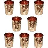 Zap Impex®–Vasos de cristal de cobre amartillado 100% Cobre Puro zuhaltung ayurvedischen Heil Conjunto de 8