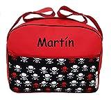 Maxi bolso para carrito de bebé BORDADA CON EL NOMBRE del bebé. Varios modelos y colores disponibles. (Calaveras rojo)