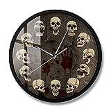 XCJX 12 Pulgadas con Marco Reloj de Pared de Calavera anatómico Reloj de Pared silencioso sin tictac de Cuarzo Mural de Calavera Surrealista Inusual decoración del hogar de Halloween