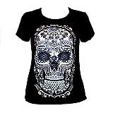 Micuari Camiseta con diseño Mexicano Calavera Talavera Mujer (L)