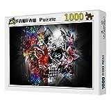 FAWFAW Wooden Jigsaw Puzzles, 1000 Piezas, Psicodélico Mitad León Y Mitad Calavera Jigsaw Puzzle Game Toys Gift