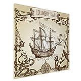 Hangdachang Barco de Colón, carabela Vieja, velero, Pulpo, Ancla, Arte de la Pared de la Lona de la Rosa de los Vientos - decoración casera Moderna Estirada y enmarcada Lista para Colgar