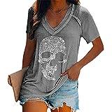 Camisetas con Estampado de Calavera para Mujer, Camisetas de Manga Corta Sueltas con Cuello en V Profundo y Calavera a la Moda