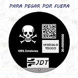 Vinilo Adhesivo Calavera Pegatina Sticker Distintivo Ambiental Coche VEHICULO TOXICO JDT para Pegar por Fuera
