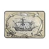 N\A Felpudo para velero de carabela del día de Colón, Alfombra de área pequeña, Alfombra de Piso Antideslizante para Entrada Exterior y Interior