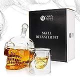 Oak & Steel Decantador de Cristal Premium de Calavera (500 ml) - Vino de Calavera Botella Set con 6 Vasos de Chupito (75 ml)