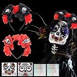 LOPOTIN 2pcs Tatuajes Cara Día Muerto, 2pcs Diadema Catrina, Tiaria Roja Rosa, Diadema Mexicana para Mujer Hombre y Niños Disfrazar Demonios Fantasma y Muertos en Fiestas Mexicanas Carnival y Boda.