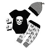 Juego de ropa de bebé para recién nacido (body, pantalones, gorro, manoplas) con diseño de calavera de Halloween Black+White Talla:0-6 meses