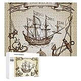 Hangdachang Barco Colón, Carabela Vieja, Velero, Pulpo, Ancla, Rosa de los Vientos Rompecabezas de 500 Piezas, Multicolor, 20.5 'L x 15' An