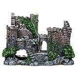 DXIA Adornos para Acuario, Adorno para Acuario con Diseño de Cueva y Arbol, Decoración de Castillo de Castillo para Decoración de Acuario, Resina, Acuarios Puente Decorativo Accesorios