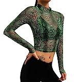 Lenfesh Blusa Moda Sexy Camisa de Malla Manga Larga para Mujer Sexy de Serpiente Imprimir Top Translúcido Camiseta tee - Verde